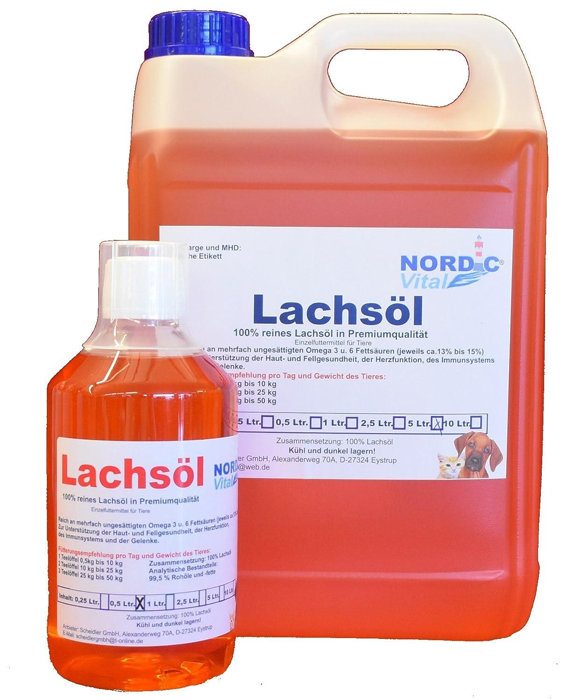 NordicVital Lachsöl frische Premiumqualität, 1x5 Ltr. Kanister + 1 x 500ml Flasche Barf Öl,Barföl,Hunde, Barföl MaryWell