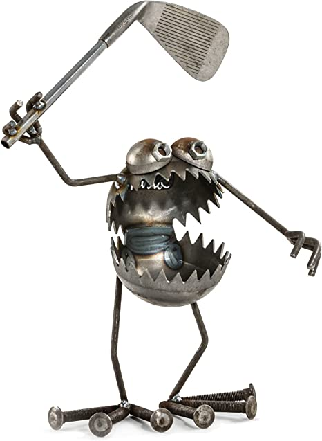 Amazon Com Sugarpost Gnome Be Gone Medium Golfer Welded Scrap Metal Art Sculpture Item 2002 Garden Outdoor
