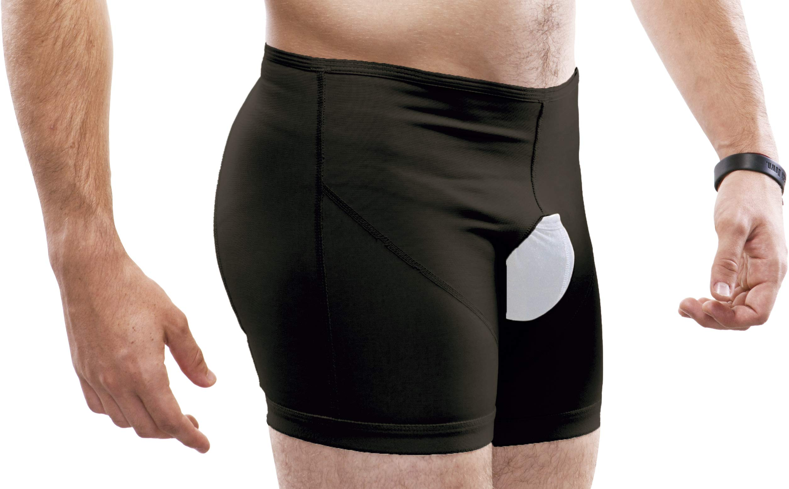Inguinal Hernia Support Belt Invisible Underpants Compression Garment Truss Galess (Black, XS)