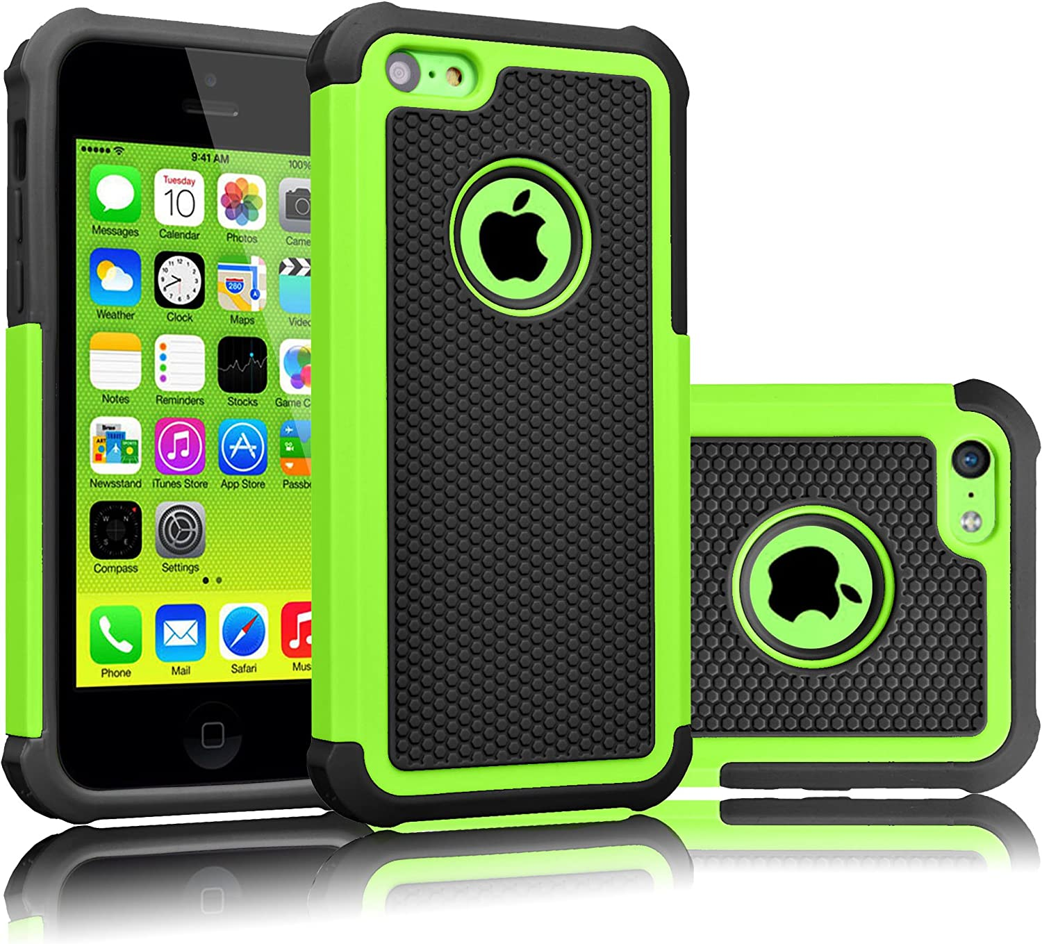 Tekcoo iPhone 5C Case, [Tmajor Series] [Green/Black] Shock Absorbing Hybrid Impact Defender Rugged Slim Case Cover Shell for Apple iPhone 5C Hard Plastic Outer + Rubber Silicone Inner