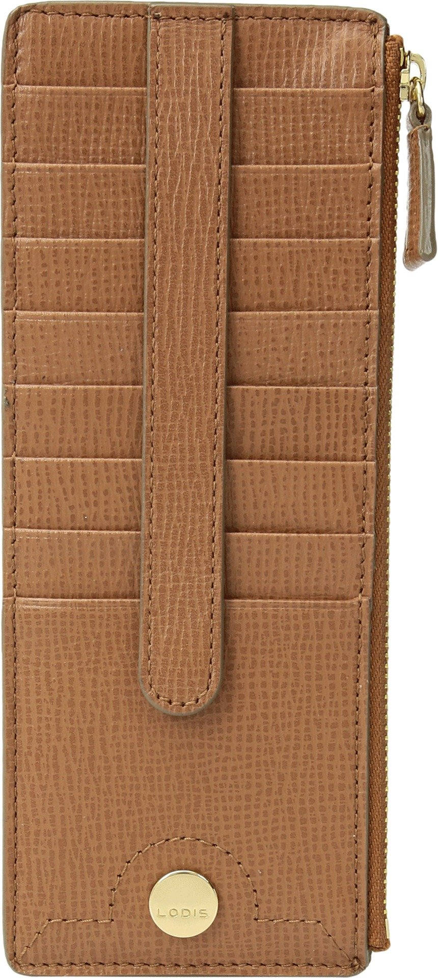 Lodis Women's Business Chic Rfid Credit Card Case with Zipper Pocket, Caramel, One Size