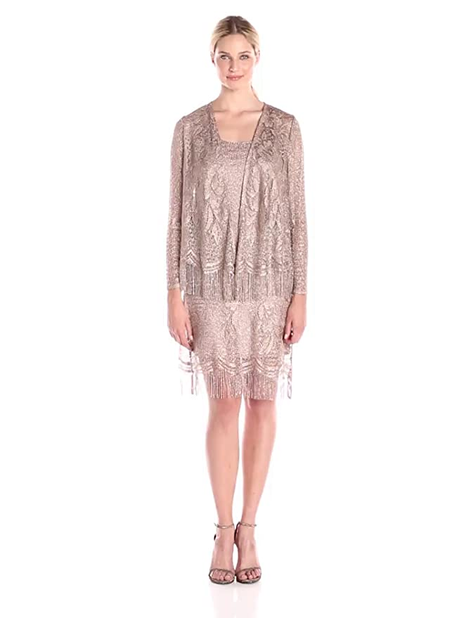 Where to Buy 1920s Dresses S.L. Fashions Womens Crochet Jacket Dress $58.40 AT vintagedancer.com