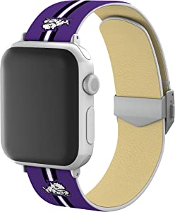 AFFINITY BANDS Texas Christian Horned Frogs Full Print Watch Band with Engraved Buckle Compatible with Apple Watch - 42mm/44mm Stripes Logo