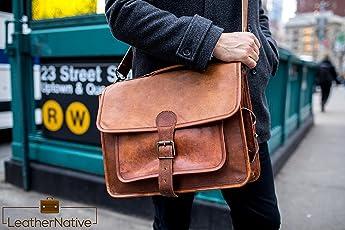 Leather Native Bolso de cuero para hombre Business Messenger Bolso para portátil hombro Bolso marrón