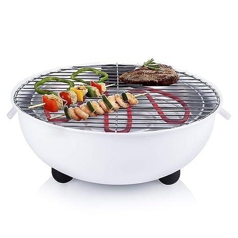 Tristar BQ-2882 – Barbacoa eléctrica, parrilla de mesa, diseño redondo, color blanco