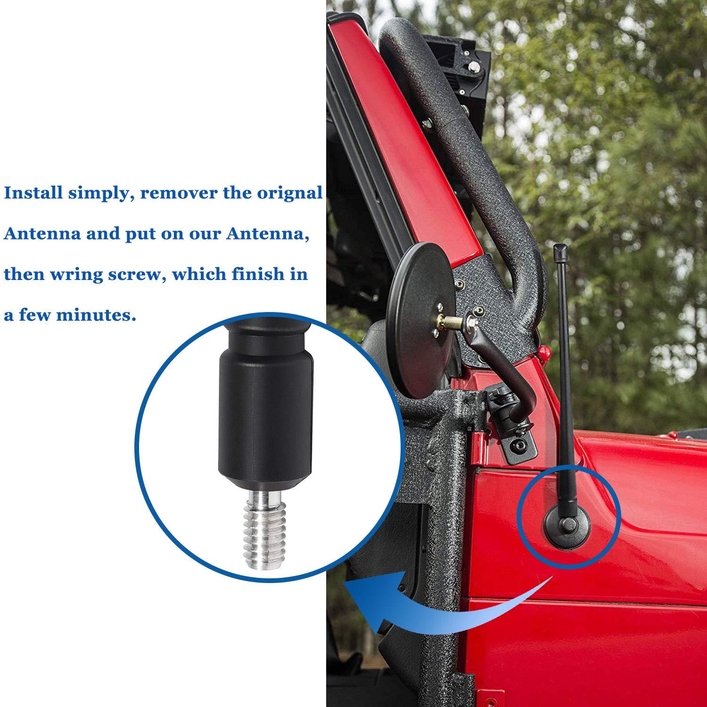 Antenna Jeep Wrangler JK JKU JL JLU 2007-2019 13 inches Flexible Rubber Upgrade Better FM//AM Reception Sunluway