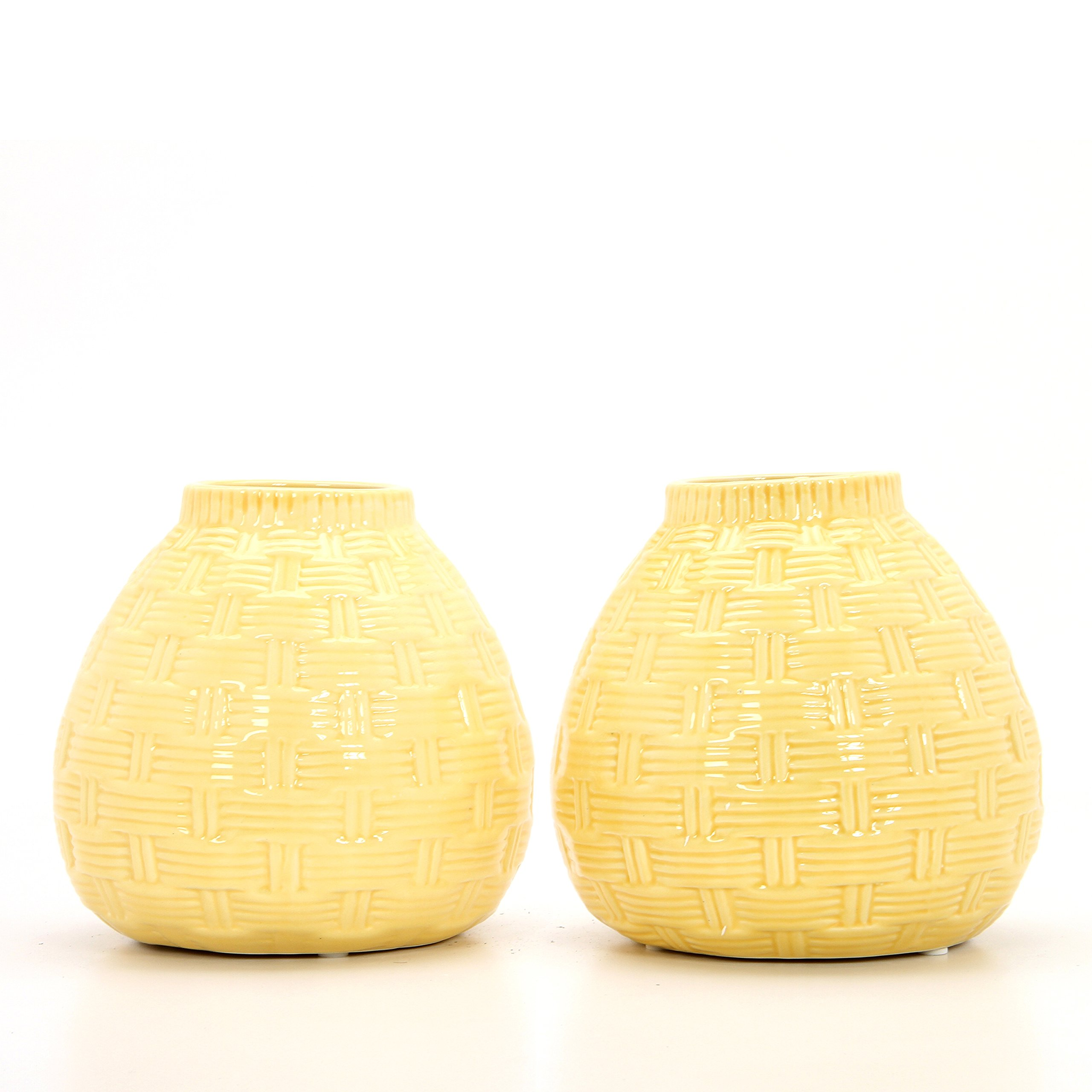Hosley Set of 2 Ceramic Yellow Vases - 6.5'' High. Ideal Gift for Home, Weddings, Party, Spa, Meditation, Home Office, Reiki, Meditation O9