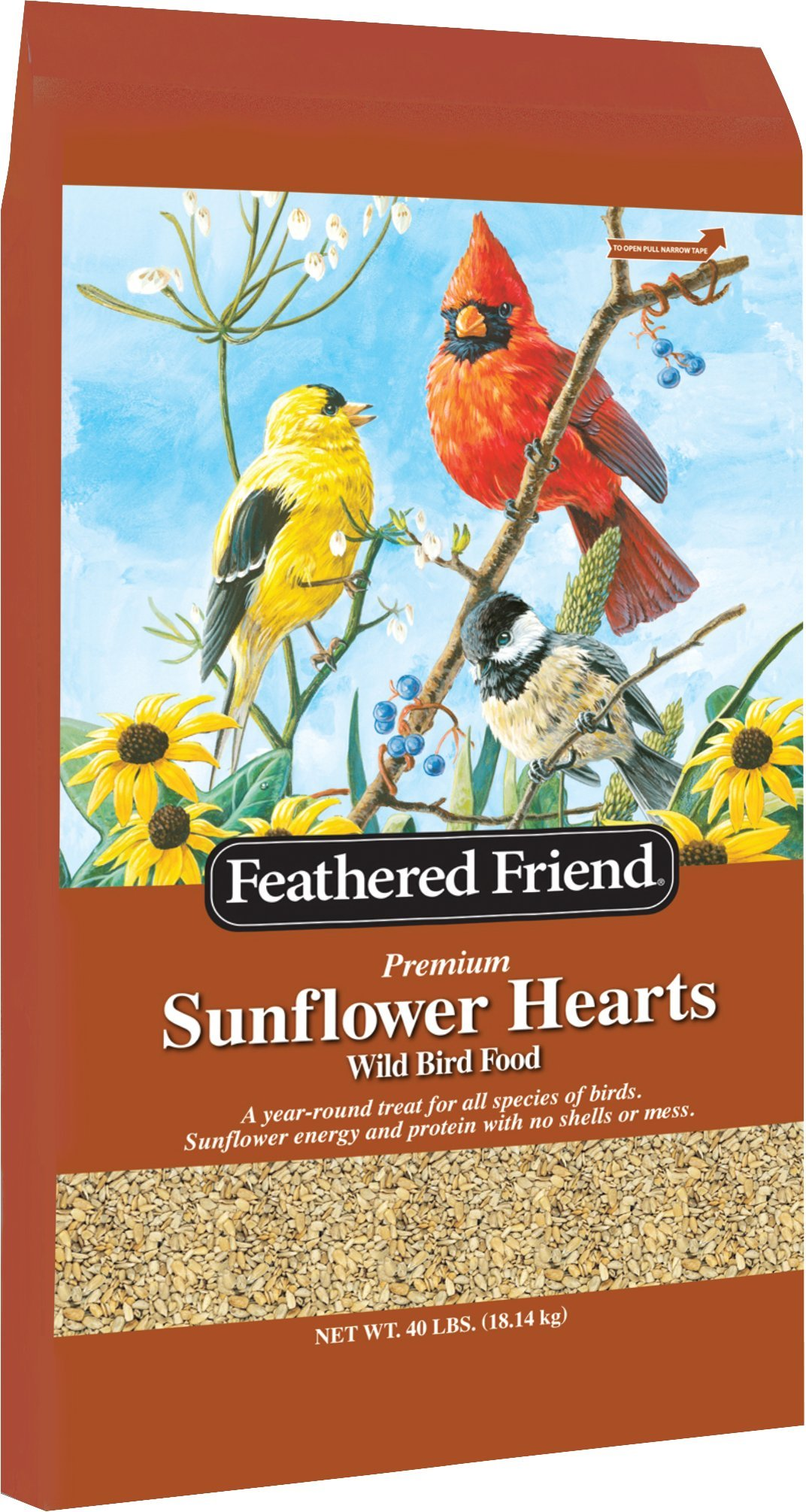 Feathered Friend Sunflower Hearts Wild Bird Seed 40 Pounds by Feathered Friend