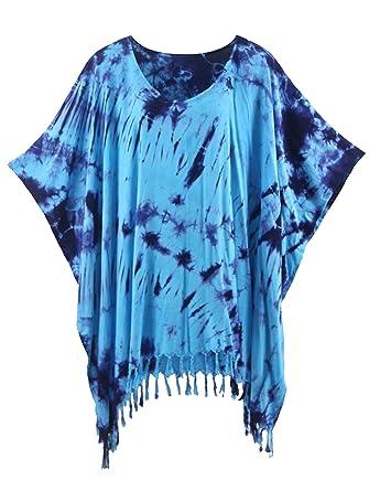 cc93c1533a Beautybatik Blue Boho Hippie Batik Tie Dye Tunic Blouse Kaftan Top 3X