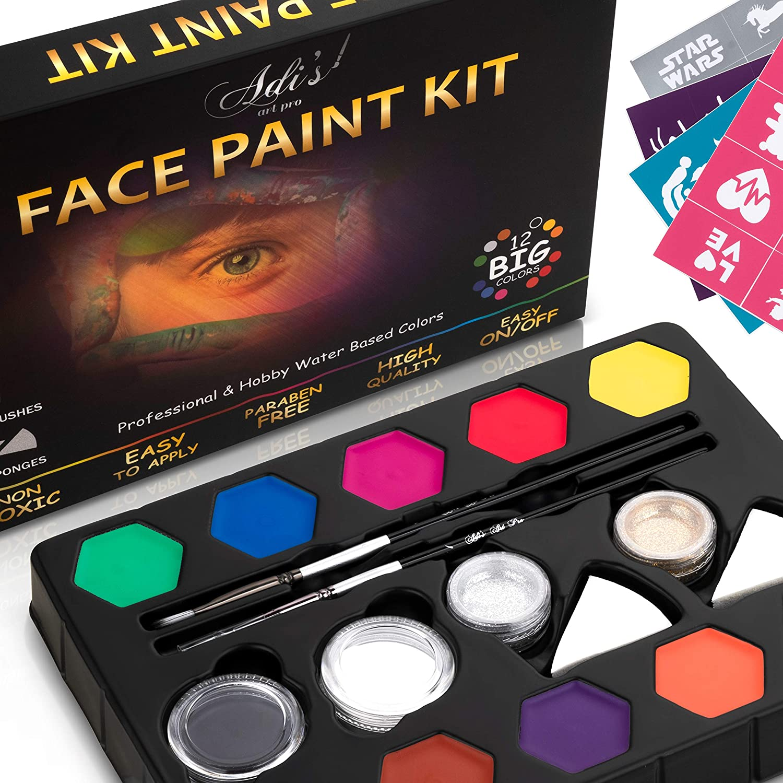 Adi's&Guy's Face Paint Kit for Kids - 58 pcs. Set with Water Based - Quick Dry - Non-Toxic Sensitive Skin Paints - Glitters - Sponge Applicators - Professional Paint Brushes - Stencils
