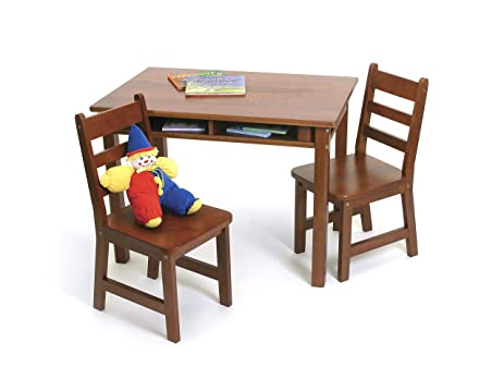 Charming Lipper International 534C Childu0027s Rectangular Table With Shelves And 2  Chairs, Cherry Finish