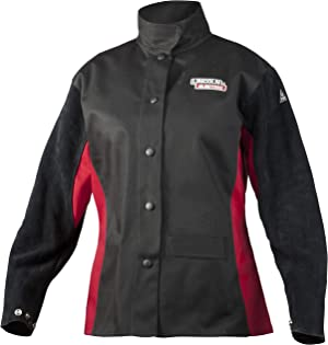 Lincoln Electric Women's Leather Sleeved Welding Jacket | Premium Flame Resistant (FR) Cotton Body | Women's Medium | K3114-M