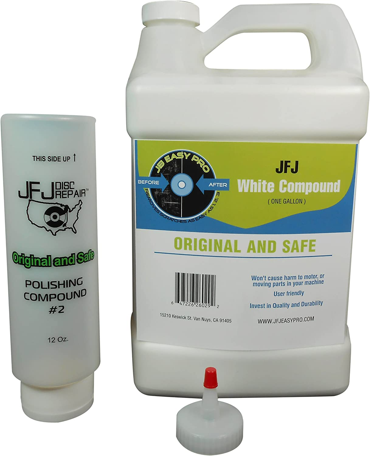 Original JFJ Combo Pack: 4 Easy Pro Buffing Pads and 1 JFJ Polish Compound #2 White 1 JFJ Polish Compound #1 Blue