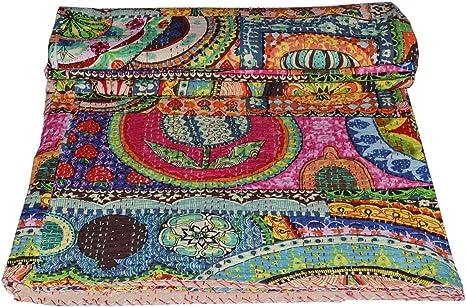 Handmade Bedspread Hand block Ajrak Print Twin size Kantha Quilt Reversible Vintage Indian quilt 100/% Cotton Bedspread Blanket Both side
