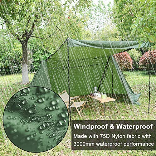 Camping Tent, Backwoods Bungalow Ultralight Bushcraft Shelter 4 Season Waterproof Anti-UV Windproof Tents Family Outdoor Cabin Tent