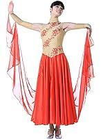 Pobofashion Damenkleid für moderne Turniertänze/Tango/Walzer, Ganzkörperkleid-kaffeebraun+rot-modernen Tanz Kleid