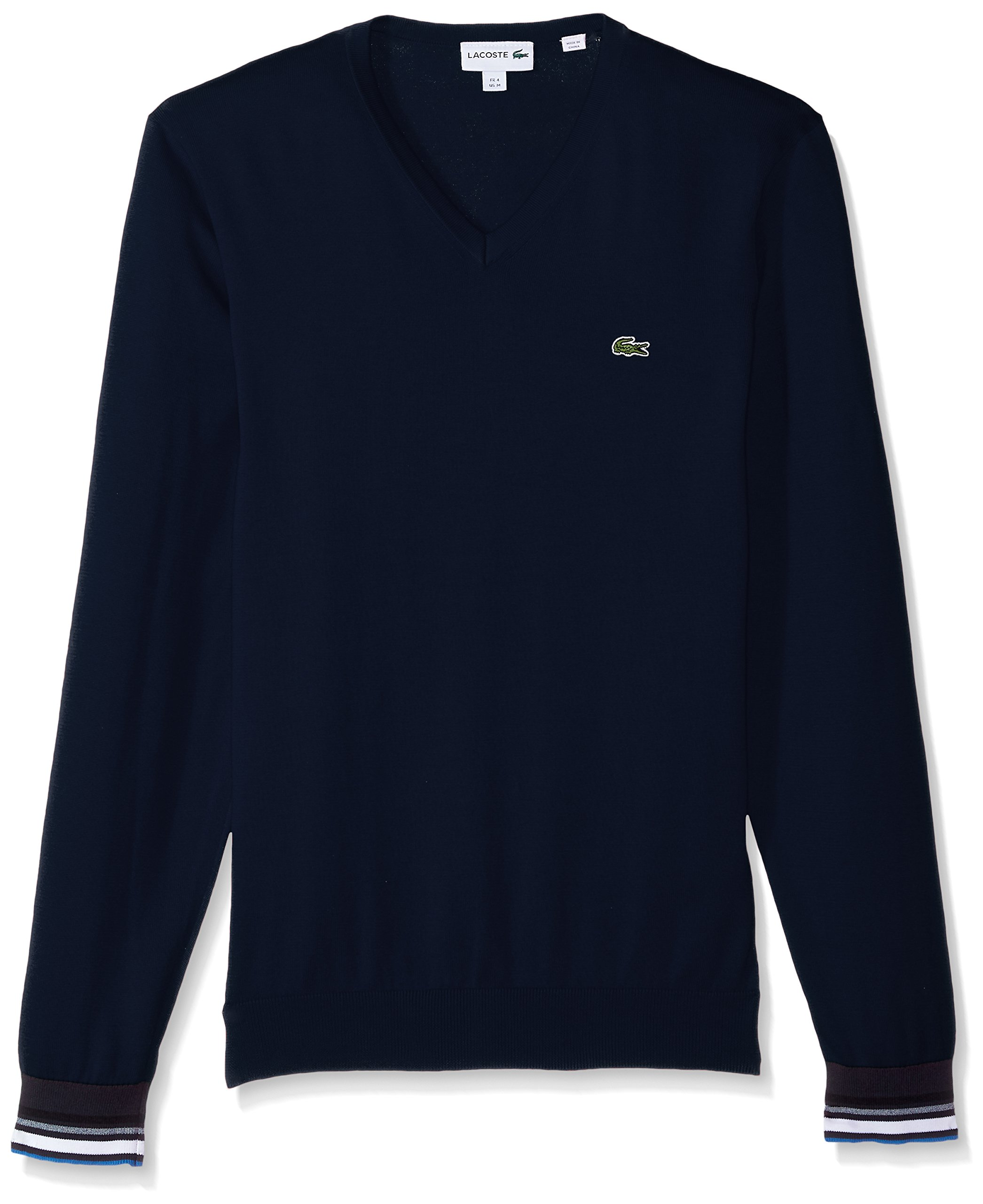 Lacoste Men's Semi Fancy Cotton Jersey V Neck Sweater, Navy Blue, 5