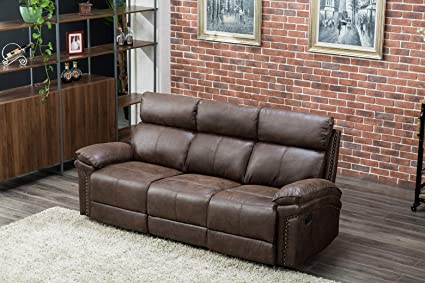 Remarkable Flieks Brown Leather Couch Recliner Sofa Set Recliner Chair Reclining Sofa For Living Room 3 Seat Spiritservingveterans Wood Chair Design Ideas Spiritservingveteransorg