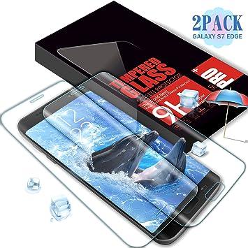 Aonsen Verre Trempé Galaxy S7 Edge,  Lot de 2  Couverture Complète Film  Protection c72e0f1c1d2f