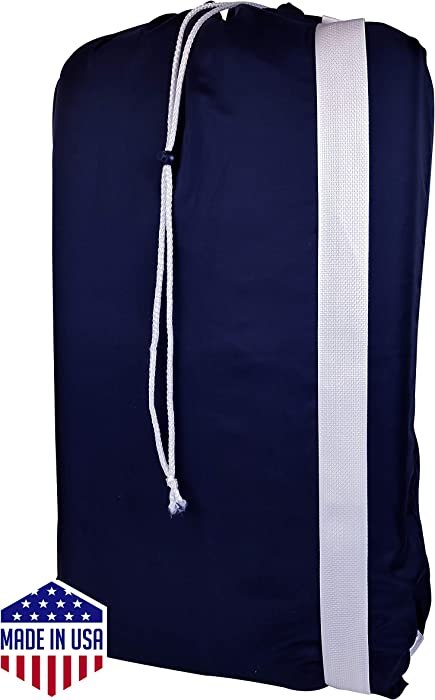 "Nylon Laundry Bag with reliable Shoulder Strap - 30"" X 40"" - 100% Nylon, for Heavy Duty Use, College Laundry Bags, Laundromat and Household Storage, machine washable - Made in the USA"
