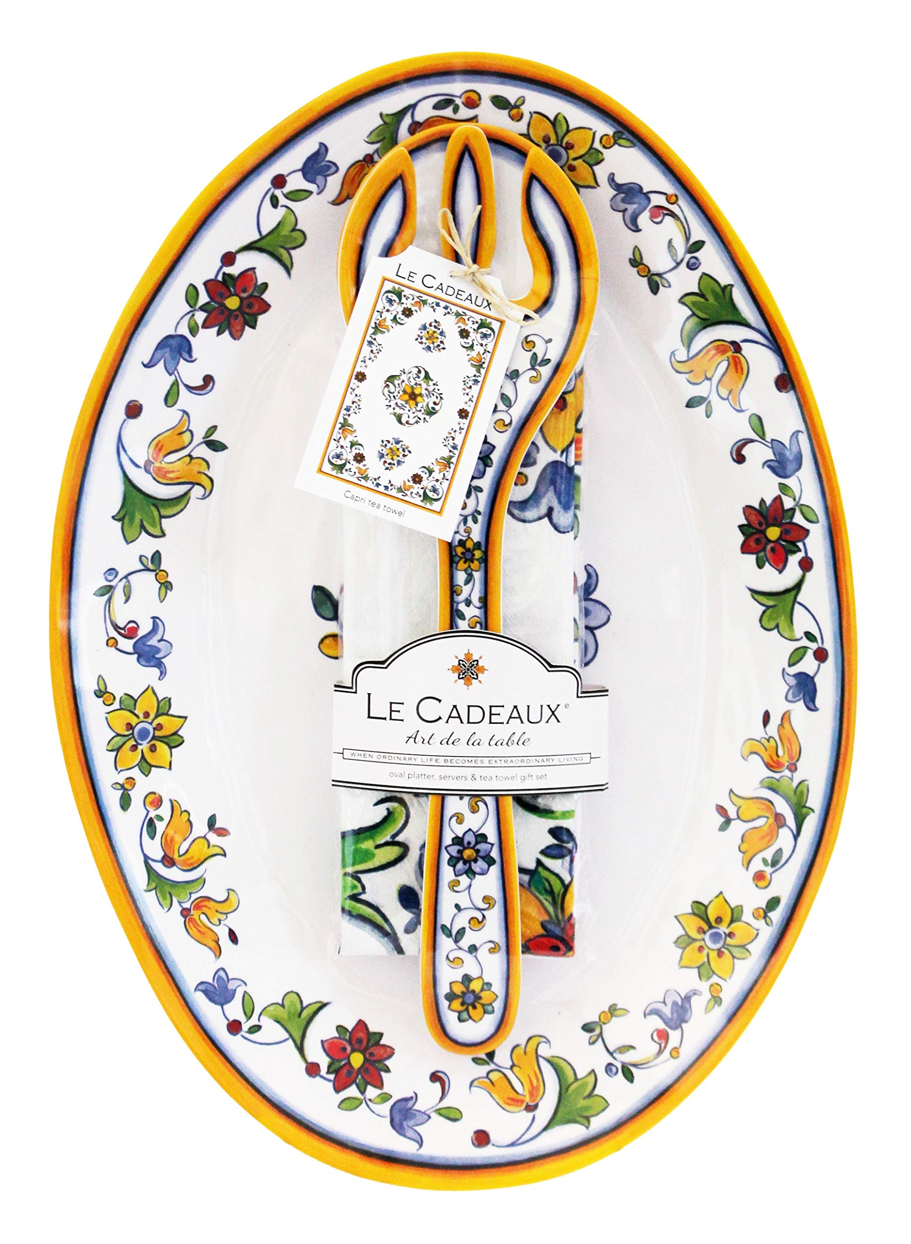 Le Cadeaux Capri Melamine 16'' Oval Platter, Salad Servers and Tea Towel Set