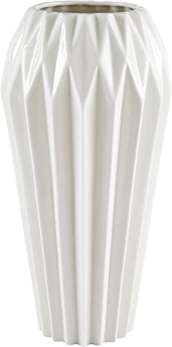 Amazon Brand Rivet Modern Angled Stoneware Home Decor Flower Vase – 12 Inch, White
