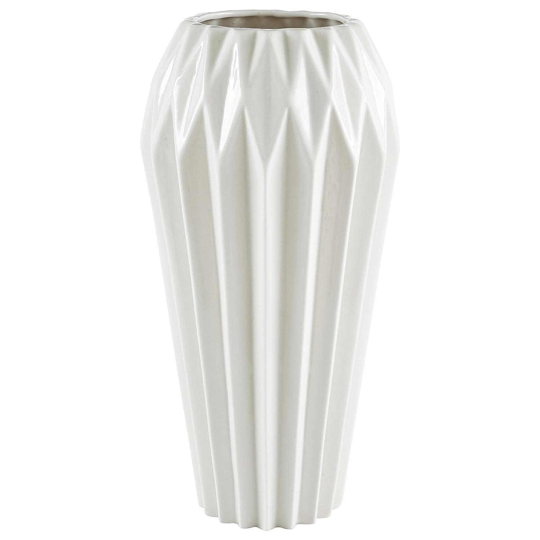 """Rivet Modern Angled Stoneware Vase, 11.9""""H, White"""