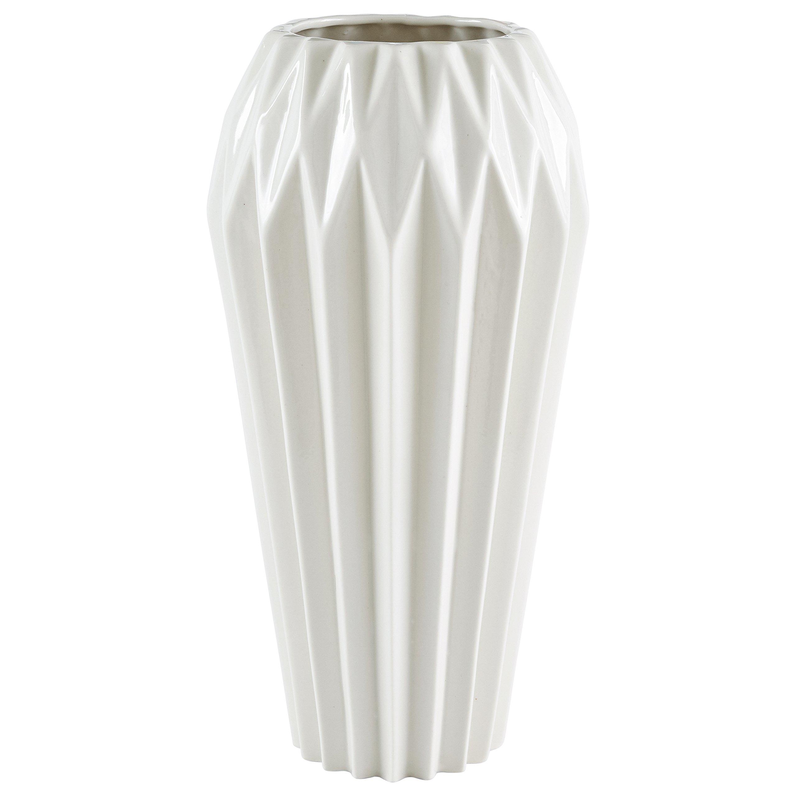 Rivet Modern Angled Stoneware Vase, 11.9''H, White