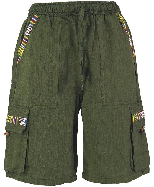 Guru-Shop, Pantalones Cortos de Yoga Etno, Algodón, Pantalones Para Hombres