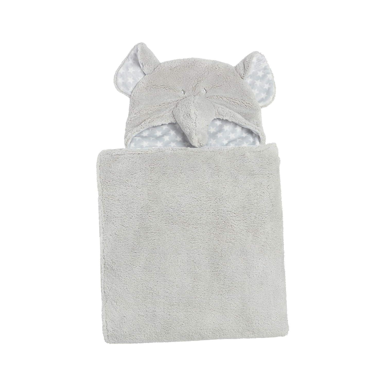 Clair de Lune Elephant Hooded Baby Blanket Grey