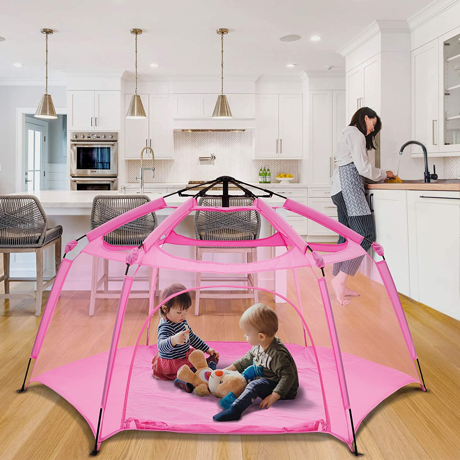 """Alvantor Playpen Play Yard Space Canopy Fence Pin 6 Panel Pop Up Foldable and Portable Lightweight Safe Indoor Outdoor Infants Babies Toddlers Kids 7'x7'x44"""" Pink Patent"""