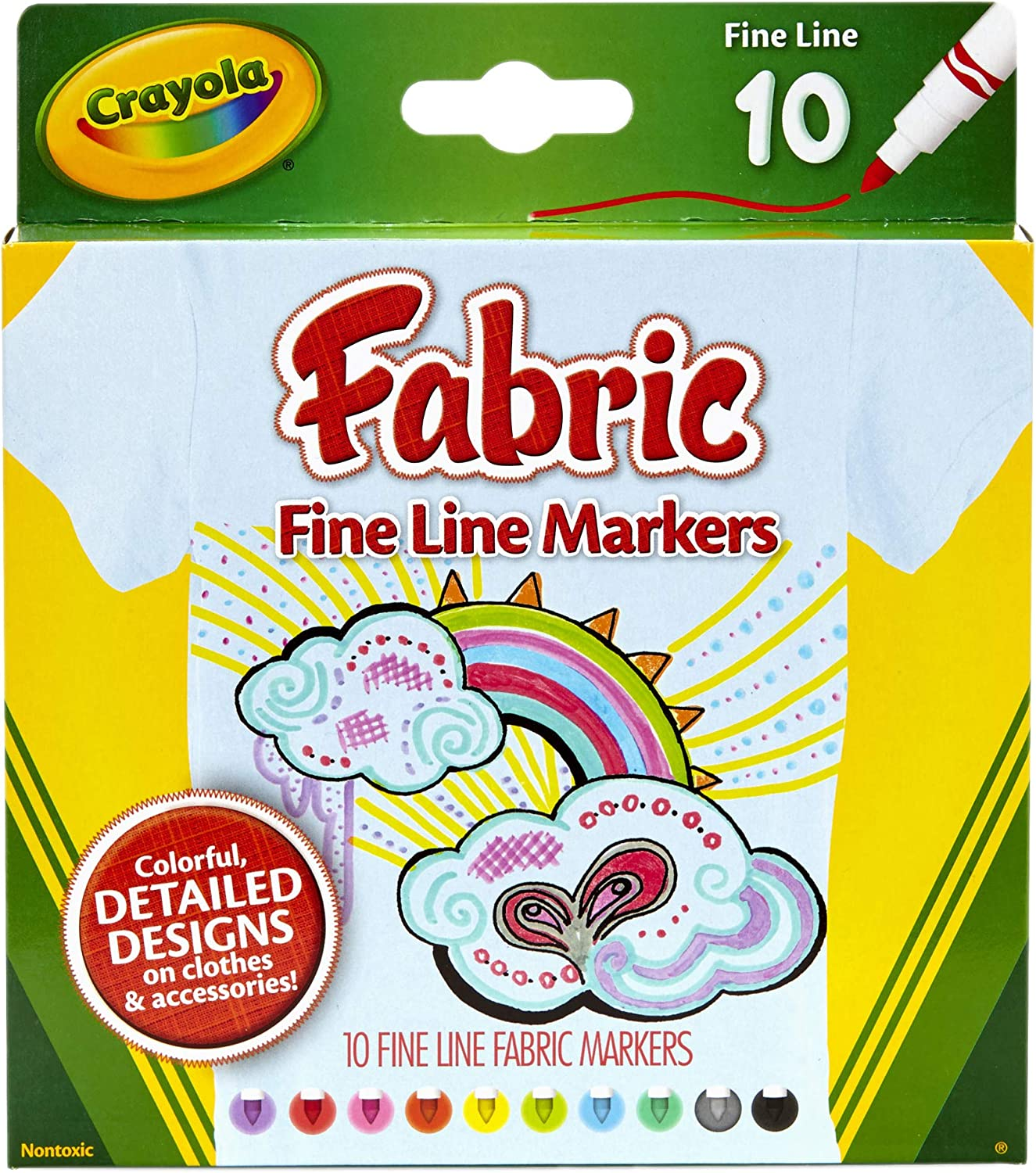 Crayola Fabric Markers, At Home Crafts for Kids, Fine Tip, Assorted Colors, Set of 10: Toys & Games