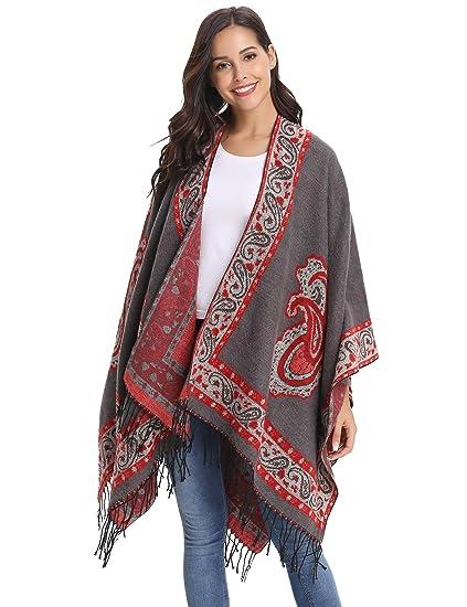 Abollria Poncho Cape Femme Couverture Tricot Epais Coton Hiver Châle  Franges Carreaux Tartan Foulard Echarpe Manteau cbc88e4986c