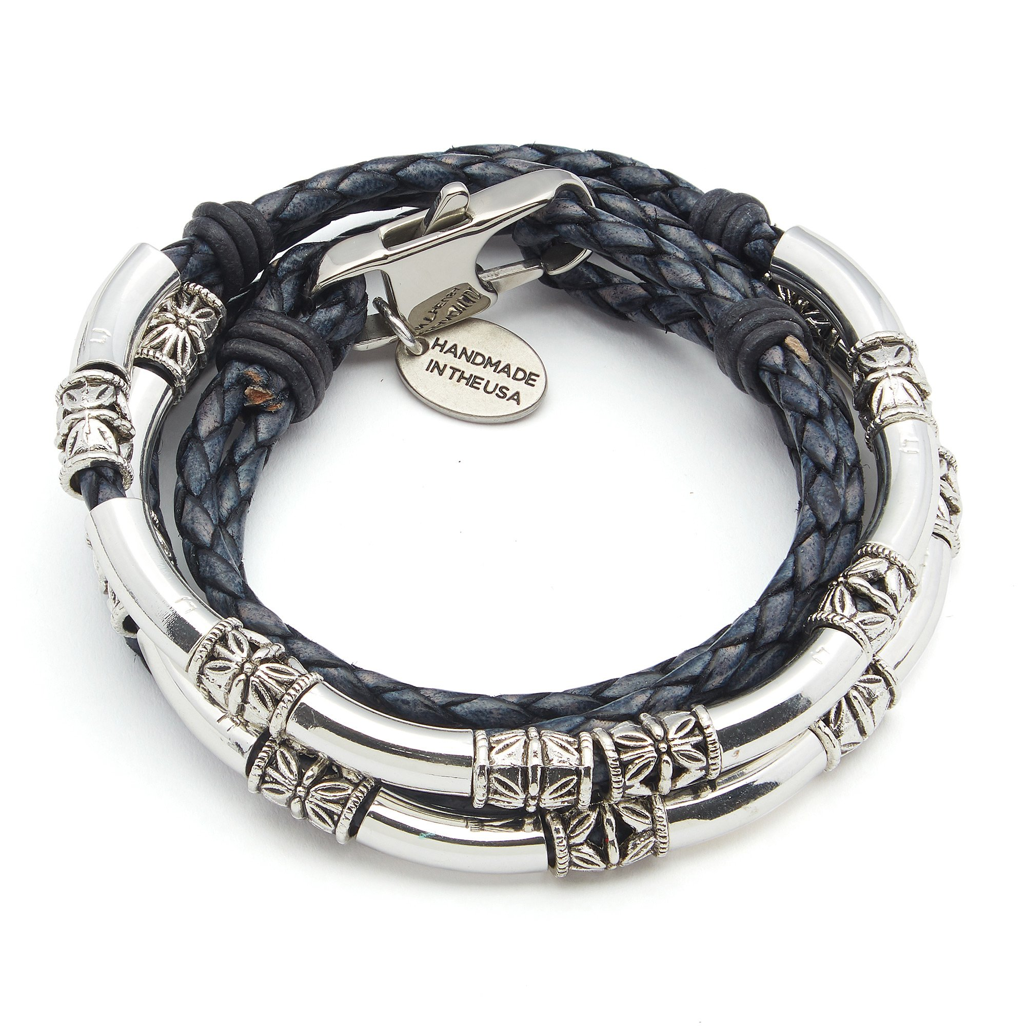 Lizzy James Mini Maxi Silver Plated 2 Strand Braided Leather Wrap Bracelet in Natural Pacific Blue Leather (Medium)