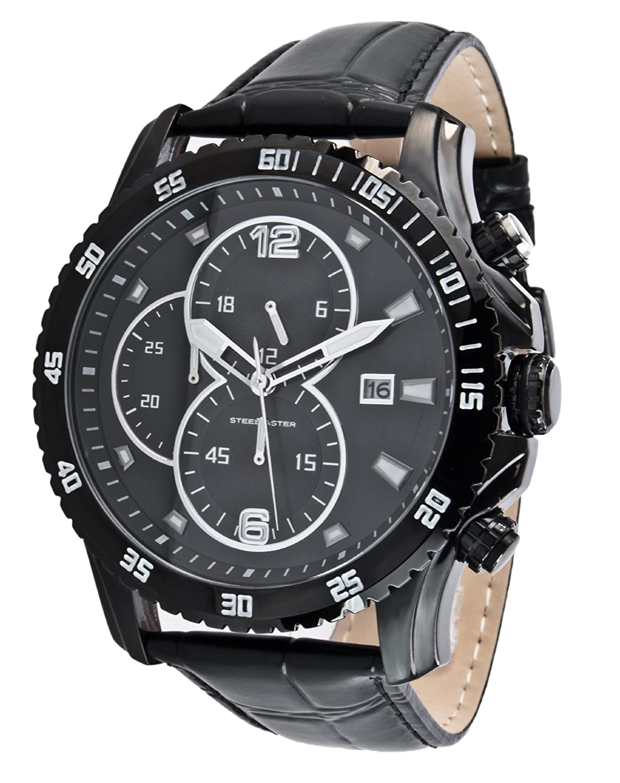 Steel Master Herren-Armbanduhr Chronograph Quarz Analog Leder - CAP1103213.F