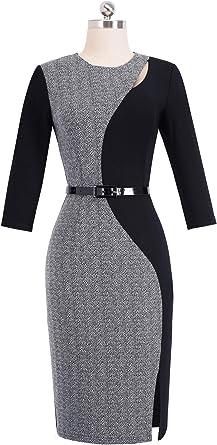 HOMEYEE B478 damska sukienka biznesowa, styl vintage, rękawy 3/4, okrągłe wycięcie pod szyją, kolorowy blok: Odzież