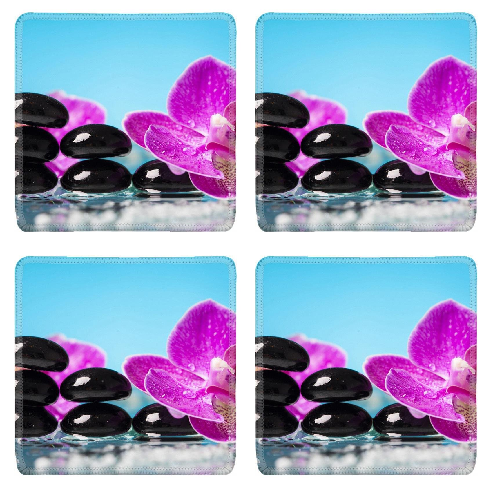 MSD Square Coasters Non-Slip Natural Rubber Desk Coasters design 35818726 Spa still life with pink orchid and black zen stones in a serenity pool