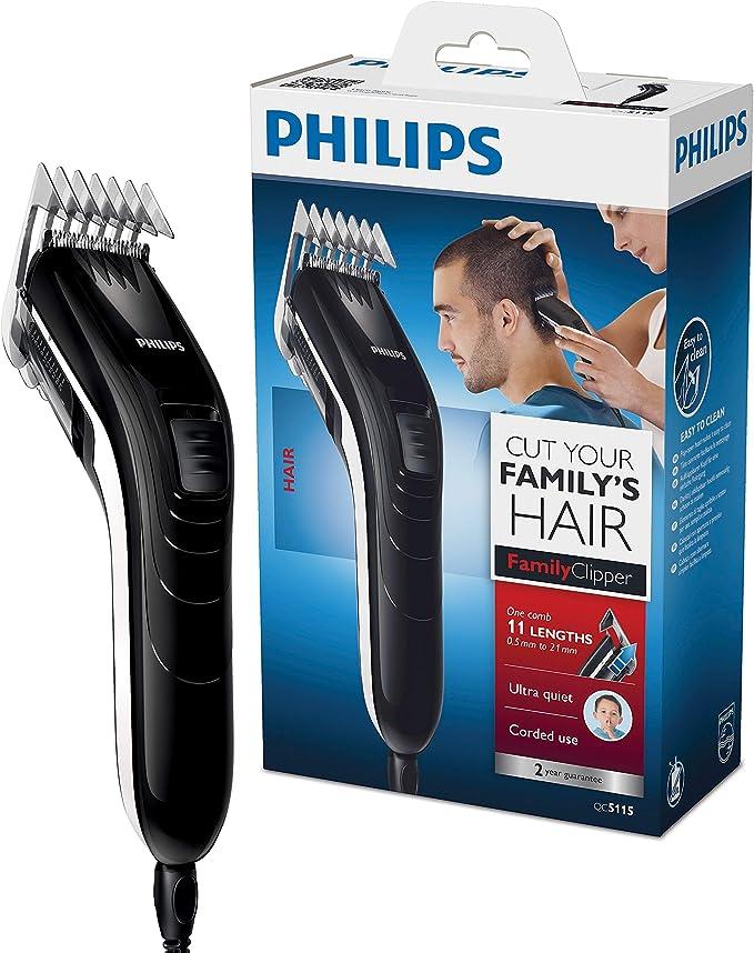 Philips QC5115/15 - Cortapelos silencioso con peine de 11 posiciones, Cuchillas de acero inoxidable, Uso con cable, Compacto y ligero: Amazon.es: Salud y cuidado personal