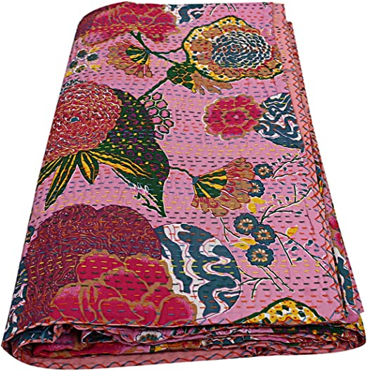 Indian Floral Kantha Quilt Handmade Throw Coverlet Queen Size Blanket Bedspread