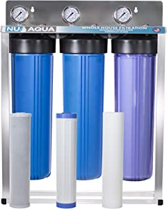 "Nu Aqua Platinum Series 3 Stage Whole House Water Filtration System With Pressure Gauges – 20""x4.5"" Sediment, Granular Carbon, Carbon Block Filters, 1"" NPT Connection"