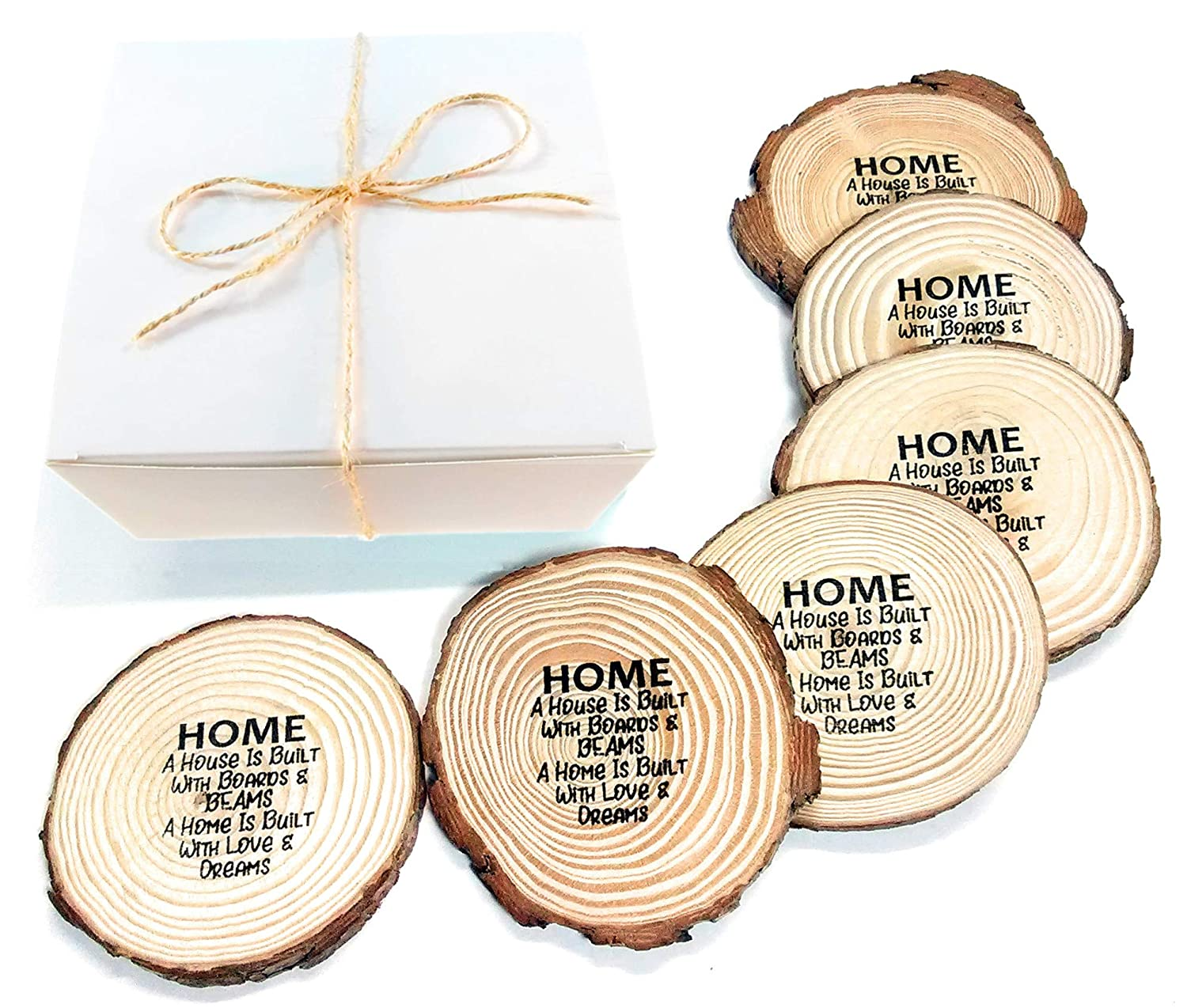 Best Housewarming Gift Ideas for a New Home? Coasters! Premium, Personalized, Gift Ready, All Natural Absorbent Wood Coasters for Drinks
