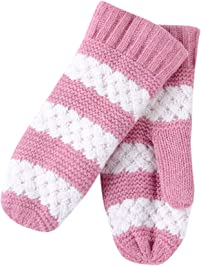 Tickled Pink womens standard Faux Fur Lined Mittens Lightweight Striped
