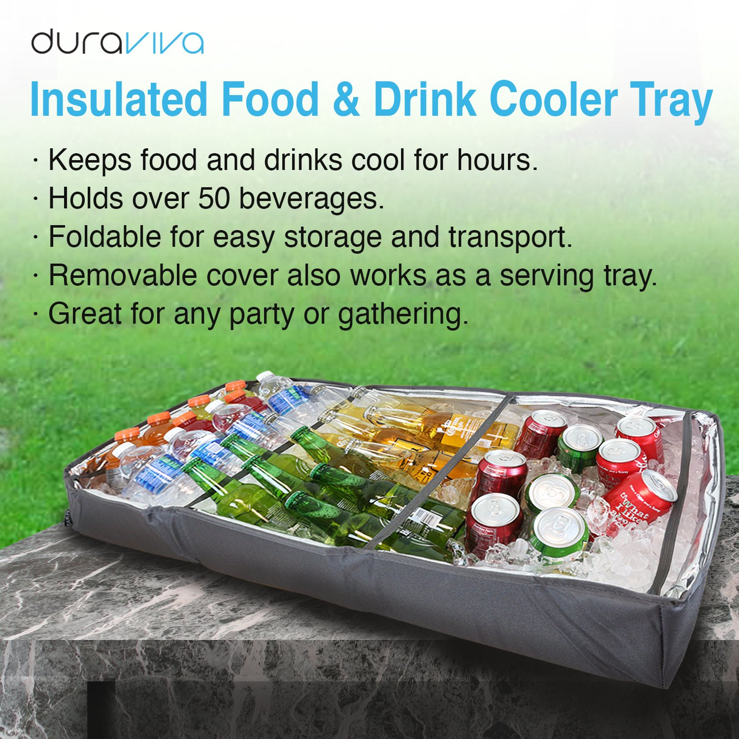 Duraviva Insulated Food & Drink Party Serving Tray Portable Foldable Cooler for Beverages, Buffet, Picnic, BBQ, Salad Seafood Bar by Duraviva (Image #8)