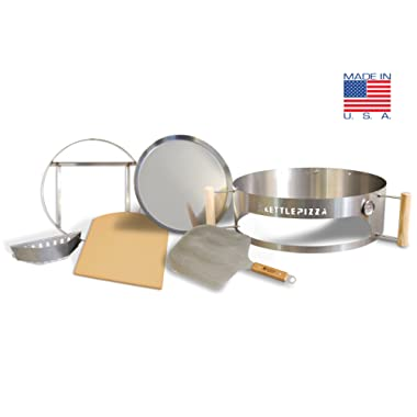 Made in USA Kettlepizza Pro 22 Kit - Outdoor Pizza Oven Kit for 22.5 Inch Kettle Grills. Includes Prograte, Tombstone & Aluminum Pro Peel