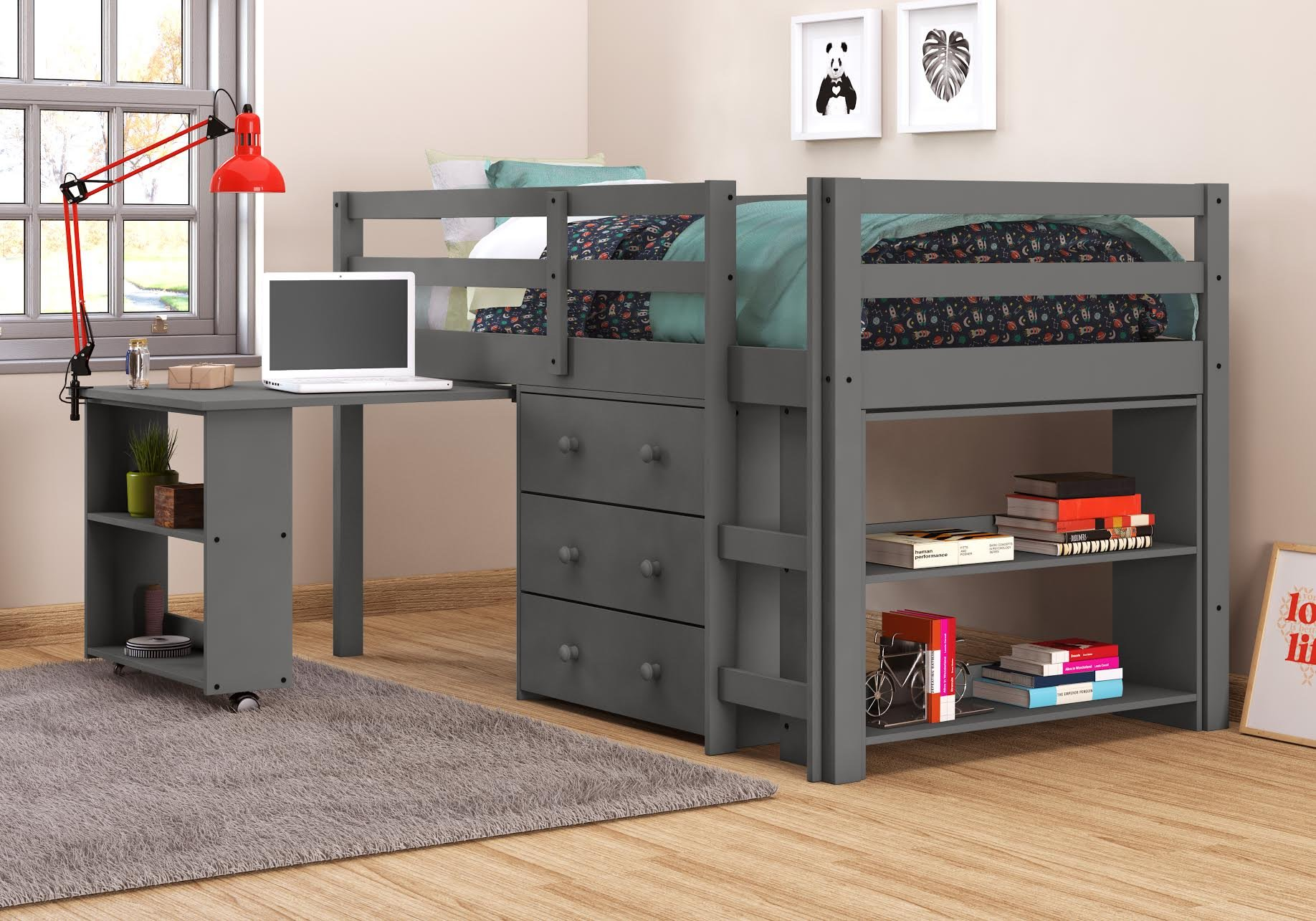 DONCO 760-Tdg Kids Study Loft, Twin, Dark Grey