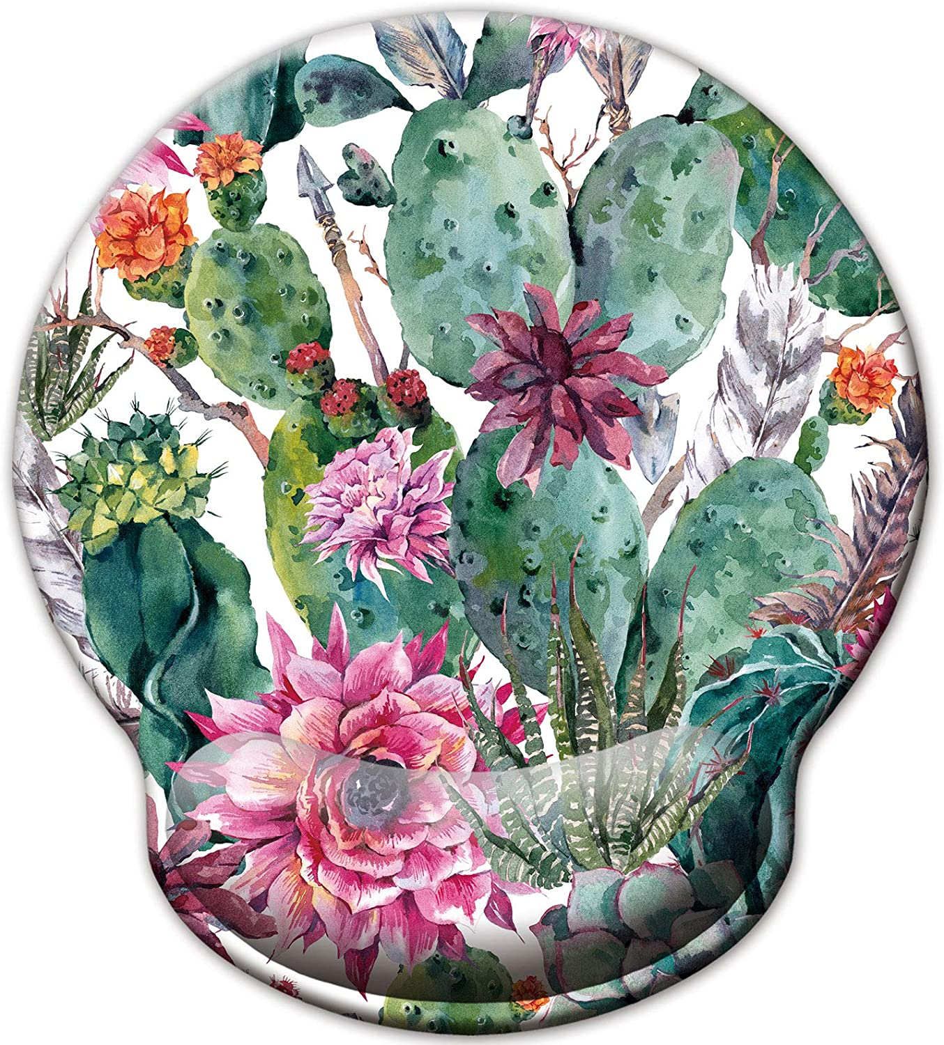 Ergonomic Mouse Pad with Wrist Support Rest, Blooming Cactus Cacti Succulents Colorful Watercolor Abstract with Flowers Florals Wrist Pad for Desk Laptop Computer Home Office Working Studying Travel