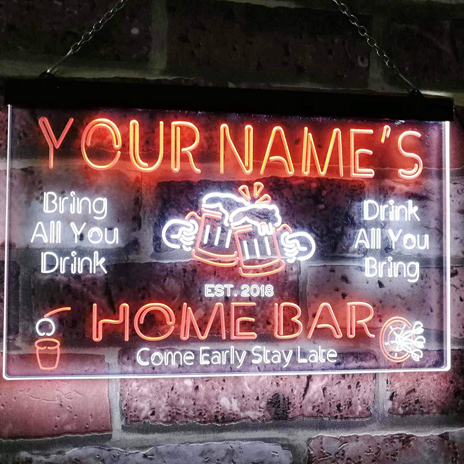 ADVPRO Personalized Your Name Custom Home Bar Beer Established Year Dual Color LED Neon Sign White /& Green 16 x 12 Inches st6s43-p1-tm-wg