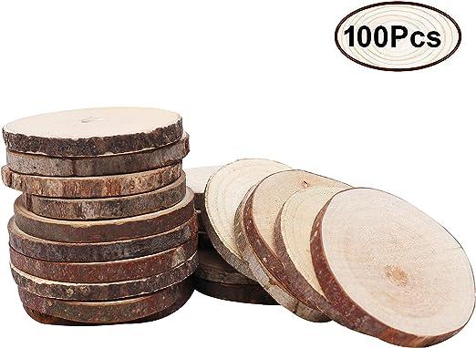 VORCOOL 50pcs Registro de madera rodajas de discos Adorno manualidades de madera para bricolaje centros de mesa de boda 5-6cm