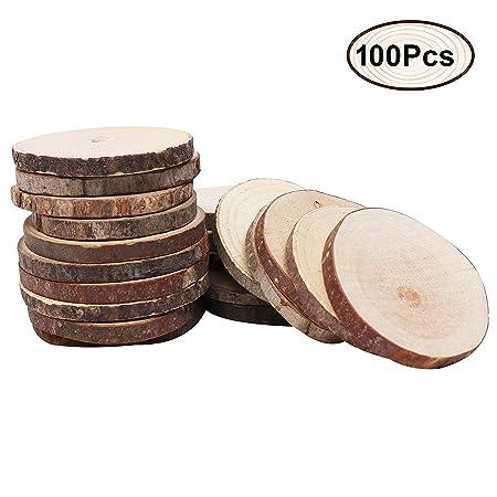 inherited Rodajas de Madera,30 Piezas adorno madera 6-7cm adorno mesa redondas discos Para Boda Manualidades DIY Navidad Decoraci/ón hawaiana adornos rusticos,Madera sin acabado