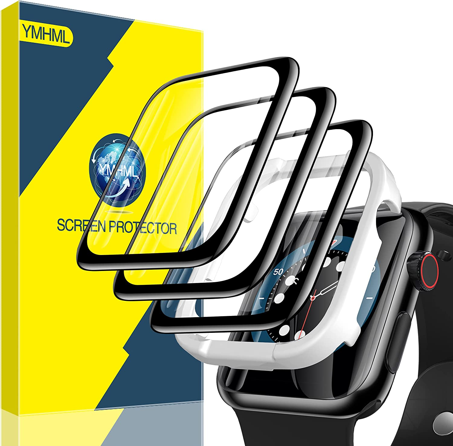 [3 Pack] YMHML Screen Protector Compatible with Apple Watch 44mm SE Series 6/5/4 [Easy Install] Anti-ScratchFull Coverage 3D CurvedEdge Flexible HD Film for iWatch 44mm Accessories (44mm, Black egde)
